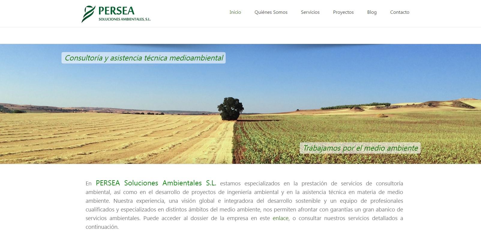Portada de la página web de PERSEA Soluciones Ambientales